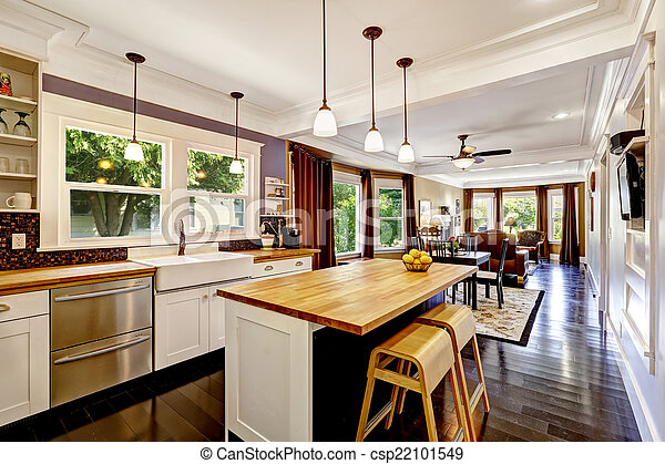 Kitchen with wooden counter top island
