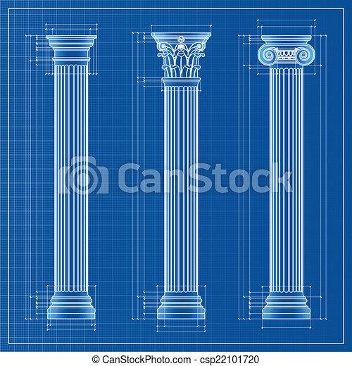 Classic columns blueprint sketch