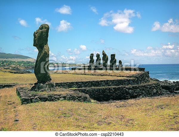 宗教, 彫刻, イースター, 島 - csp2210443
