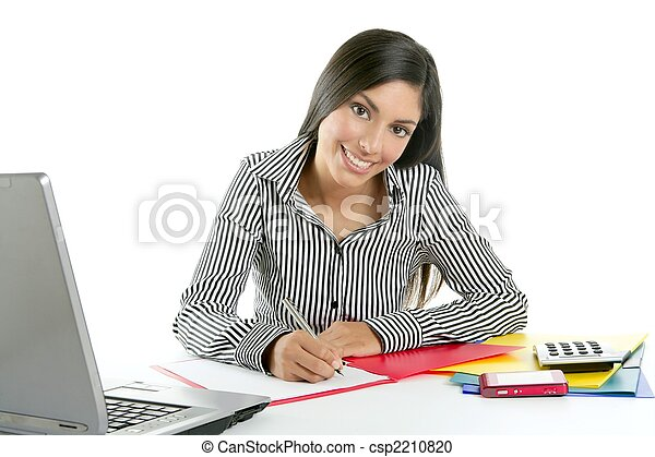 Beautiful secretary businesswoman writing on desk - csp2210820