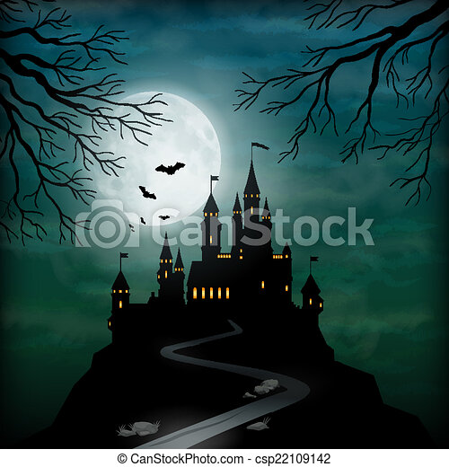 Vector of Fantasy Vector Castle Moonlight Sky - Fantasy vector castle ...