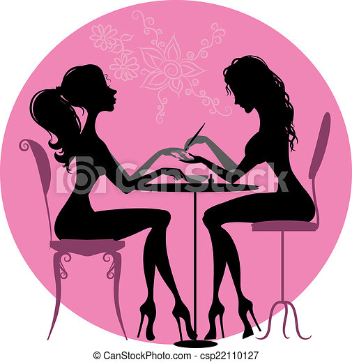 Vector Illustration of Silhouettes girls in beauty salon ...
