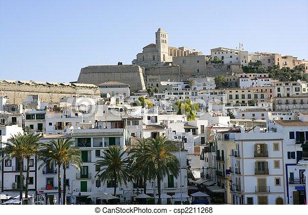 Ibiza Balearic Mediterranean white island in Spain - csp2211268