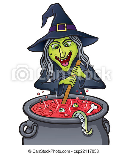 Stock illustrations of witch stirring bubbling cauldron for Art et cuisine chaudron line
