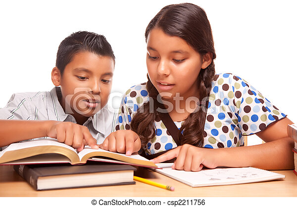 Hispanic Brother and Sister Having Fun Studying - csp2211756