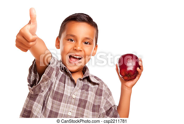 Adorable Hispanic Boy with Apple and Thumbs Up Hand Sign - csp2211781