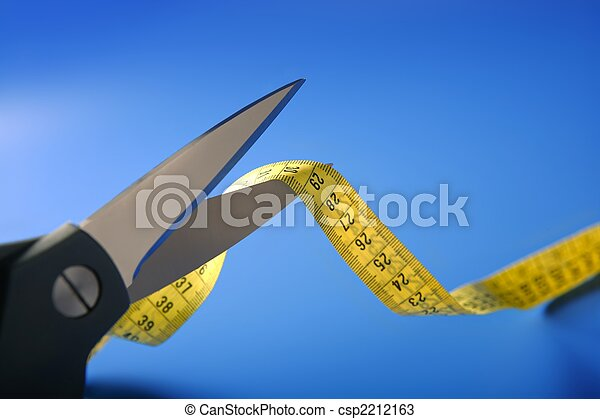 taylor yellow centimeter tape meter and scissors cutting - csp2212163