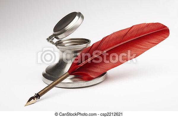 antikvitet, penna, Bläckhorn - csp2212621