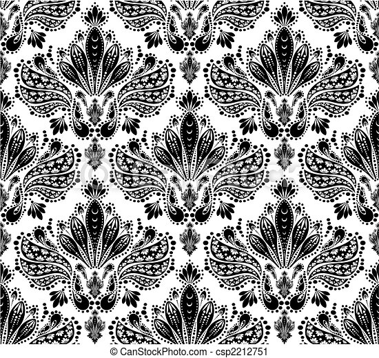 Decorative seamless floral ornament - csp2212751