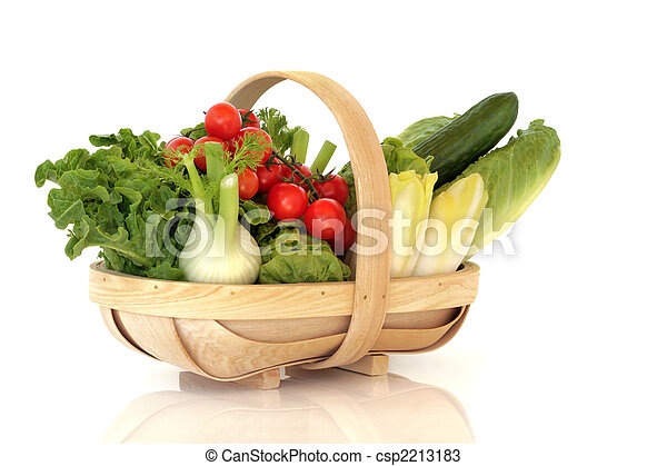 Basket of Fresh Salad Vegetables - csp2213183