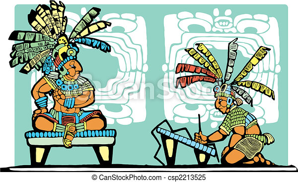 Mayan King and Scribe - csp2213525