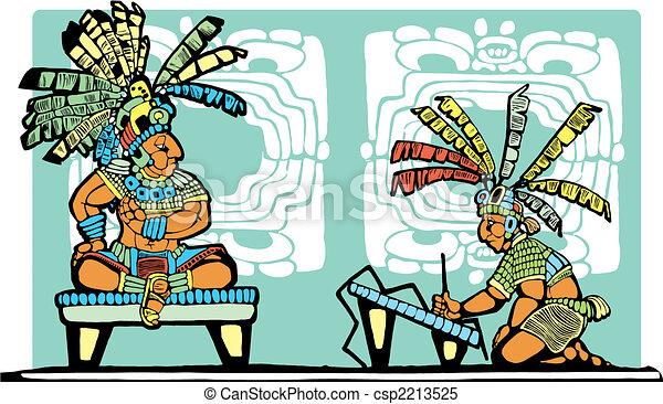 Mayan King and Scribe - csp2213525
