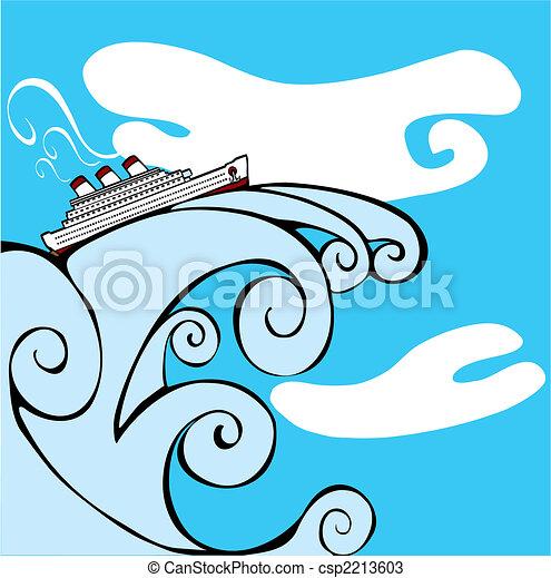 Cruise Ship on a Tsunami. - csp2213603
