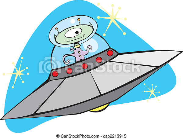Retro Flying Saucer and Martian. - csp2213915