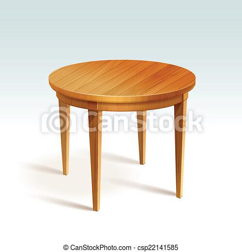 벡터, 빈 광주리, 둥근, 나무, 테이블, 고립된,... csp22141585의 벡터 ...