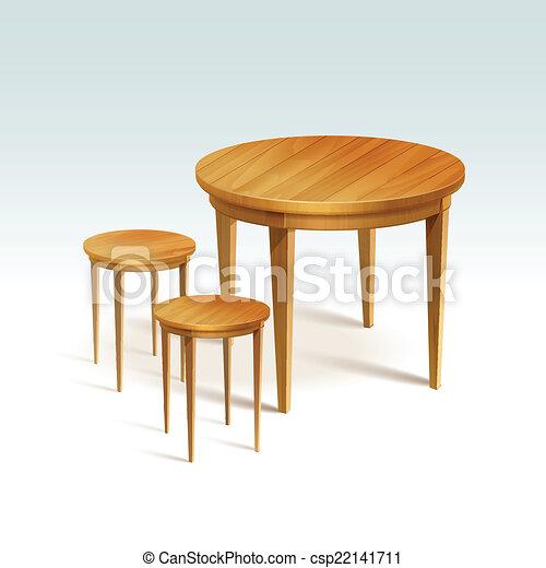벡터 - 벡터, 빈 광주리, 둥근, 나무, 테이블, 2, 의자 - 스톡 ...