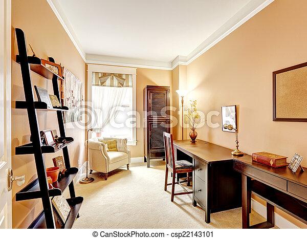 Beige office interior with desk
