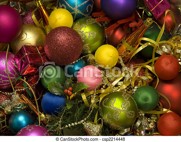 colourful bright christmas decorations