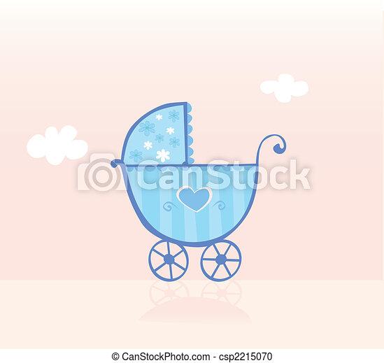 Blue pram or stroller for baby boy - csp2215070