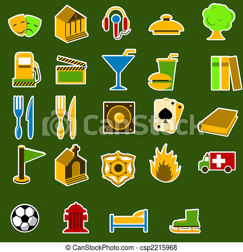 City objects icon set - csp2215968