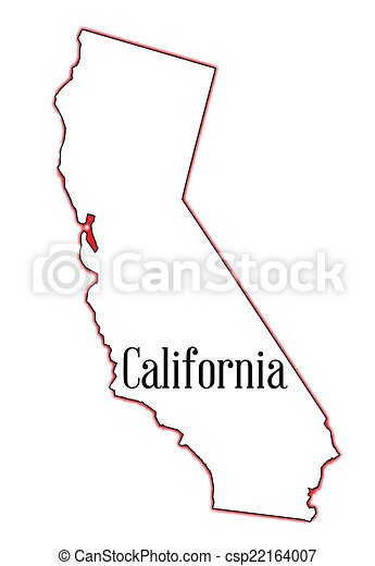Vector Clipart of California - State map outline of California ...