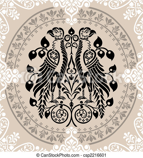 Heraldic Eagles decorated with floral ornaments - csp2216601