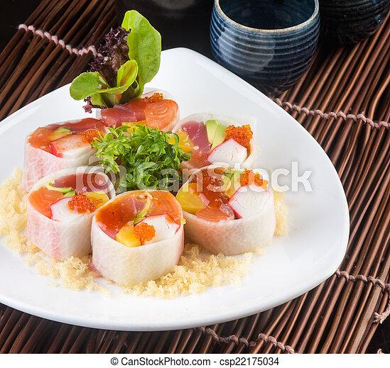 photos de japonaise cuisine sushi fond csp22175034 recherchez des images des photographies. Black Bedroom Furniture Sets. Home Design Ideas
