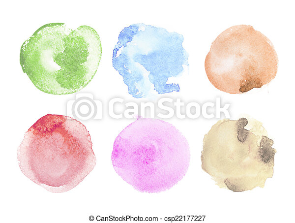 Abstract colorful watercolor aquarelle hand drawn art paint splatter stain on white background - csp22177227