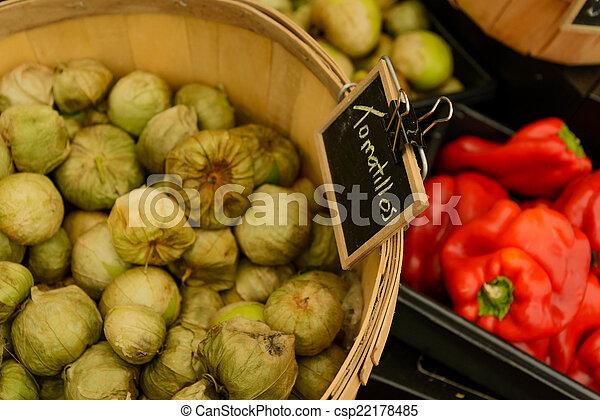 nya vegetables, marknaden, frukter - csp22178485
