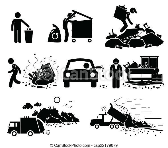 Vector - Rubbish Trash Waste Dump Site - stock illustration, royalty ...