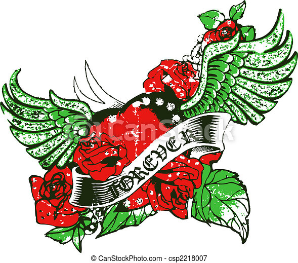 Stock Illustrations of Gothic heart and wing csp2218007 ...