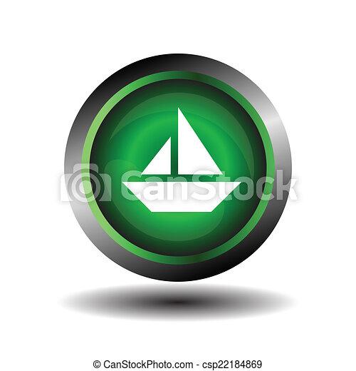 Sail icon on round internet button  - csp22184869
