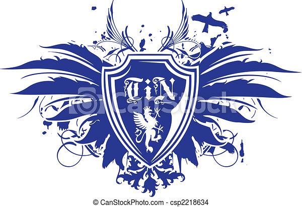 Heraldic wing shield emblem - csp2218634