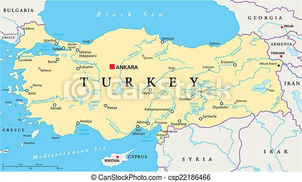 clip art vector van turkije politiek kaart hoofdstad