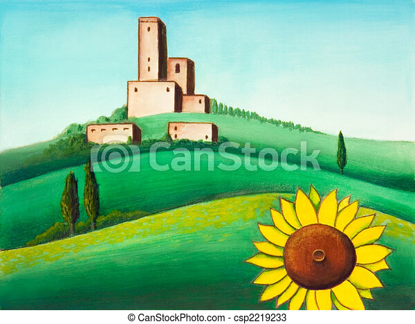 Dibujos de paisaje girasol pintoresco toscano for Disegni di cabina di campagna