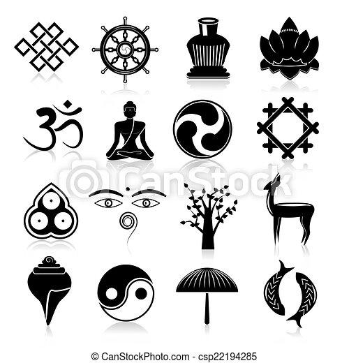 Vecteur Bouddhisme Icônes