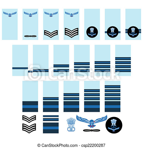 vector of indian air force insignia military ranks and