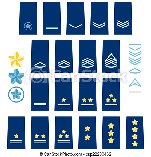 Clip Art Vector of Japanese Air Force insignia - Military ranks ...