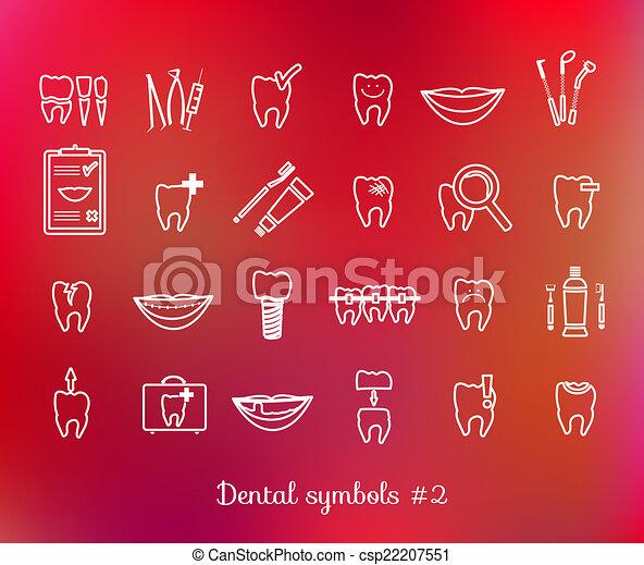 Clipart Vector of Set of dentistry symbols. Dental tools, floss ...