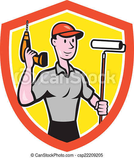 Vector Clipart of House Painter Paint Roller Handyman Cartoon ...