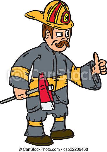 clip art vecteur de pompier pompier haut pouces hache dessin anim csp22209468. Black Bedroom Furniture Sets. Home Design Ideas