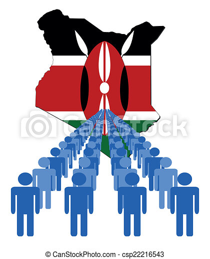 people with Kenya map flag - csp22216543