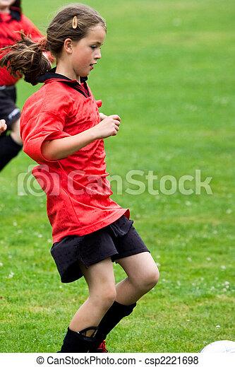 girl playing football - csp2221698
