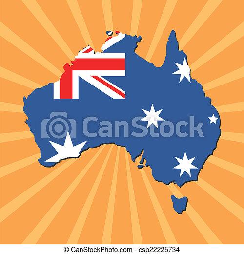 Australia map flag on sunburst - csp22225734