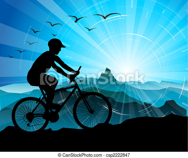 Biker Silhouette  with mountains - csp2222847