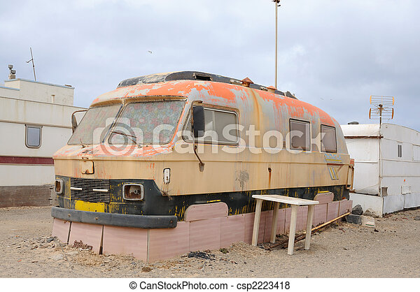 Old camper in a trailer park. Fuerteventura, Canary Islands Spain - csp2223418