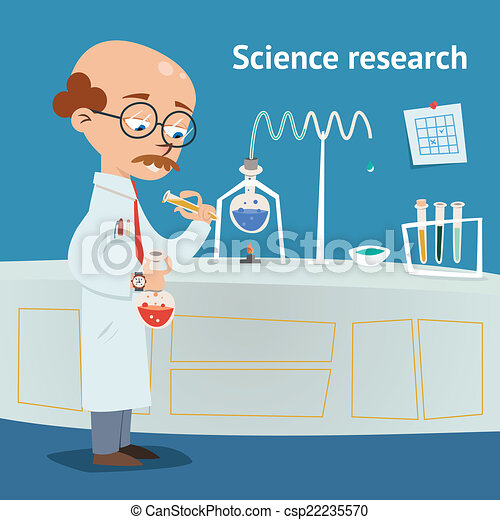 Vector - Scientist doing research in a laboratory - stock illustration ...