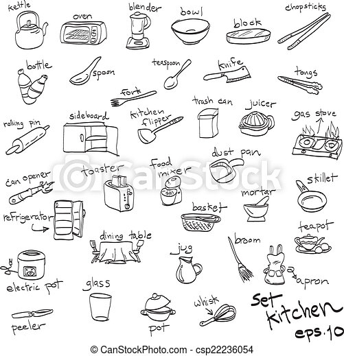 Vecteur clipart de main dessin ensemble de objets - Ustensiles de cuisine liste ...