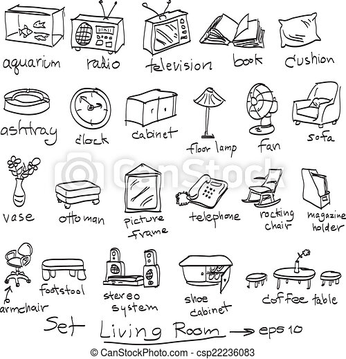 Vector Of Hand Drawn Set Objects In Living Room Doodles