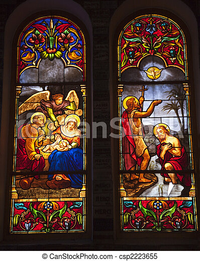 Notre Dame Cathedral Stained Glass Saigon Vietnam - csp2223655